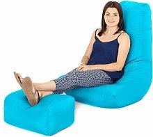 Wasserfest Außenbereich Gaming Sitzsack Lounger Sessel und Fußhocker, Erhältlich in 10 Farben - Türkis
