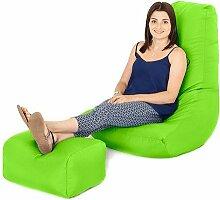 Wasserfest Außenbereich Gaming Sitzsack Lounger Sessel und Fußhocker, Erhältlich in 10 Farben - Limettengrün