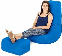 Wasserfest Außenbereich Gaming Sitzsack Lounger Sessel und Fußhocker, Erhältlich in 10 Farben - Blau