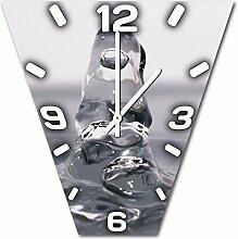 Wasserfigur, Design Wanduhr aus Alu Dibond zum Aufhängen, 48 cm Durchmesser, schmale Zeiger, schöne und moderne Wand Dekoration, mit qualitativem Quartz Uhrwerk