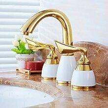 Wasserhahn,2 Farben 3 Löcher Goldene Messing Deck