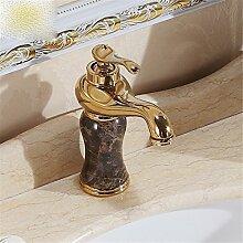 Wasserhahn Europäischen antike Einloch Mischbatterie heißen und kalten Wasserhahn im Waschbecken Wasserhahn, gold