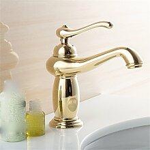 Wasserhahn Europäischen heiße und kalte alle Kupfer Wasserhahn antiken Wasserhahn im Waschbecken Wasserhahn, gold