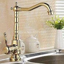 Wasserhahn für Spülbecken, goldfarben, Messing,