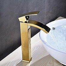 Wasserhahn für Waschbecken mit hohem Wasserfall,