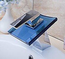 Wasserhahn Glas Armatur / Wasserfall Badezimmer Armatur / Chrome Glas Design / Bad Armatur / Blau