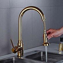 Wasserhahn herausziehen Küchenarmatur Gold