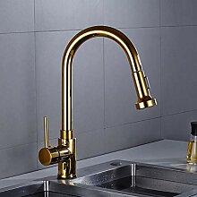 Wasserhahn High-End Creative Pull Gold Rotierenden