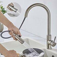 Wasserhahn Küche Ausziehbar, WOOHSE Gebürstete