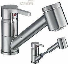 Wasserhahn Küche mit herausziehbarer Geschirrbrause Einhebel Waschbecken Armatur in gebürsteter Edelstahloptik inkl. Befestigungsmaterial und Montageanleitung