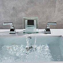 Wasserhahn Küchenarmatur Doppelgriffe Wasserfall