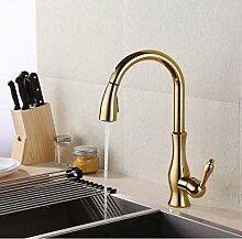 Wasserhahn Waschtischmischer Gold Messing Pull