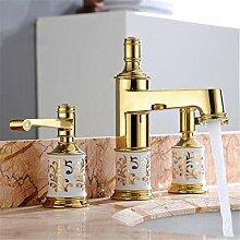 Wasserhahn Waschtischmischer Goldene 3 Löcher