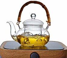 Wasserkocher Glas Teekanne mit Deckel Blume
