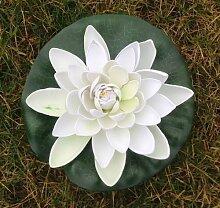 Wasserlilie Schwimmend Lotusblüte Lotusblume Seerose 17 cm groß künstliche Blumen sehr original wie echt Deko Teichrose (weiß)