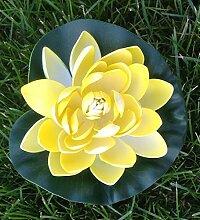 Wasserlilie Schwimmend Lotusblüte Lotusblume Seerose 17 cm groß künstliche Blumen sehr original wie echt Deko Teichrose (gelb)