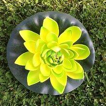 Wasserlilie Schwimmend Lotusblüte Lotusblume Seerose 17 cm groß künstliche Blumen sehr original wie echt Deko Teichrose (gelb grün)