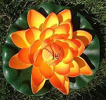 Wasserlilie Schwimmend Lotusblüte Lotusblume Seerose 17 cm groß künstliche Blumen sehr original wie echt Deko Teichrose (orange)