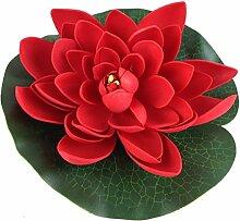 Wasserlilie Schwimmend Lotusblüte Lotusblume Seerose 17 cm groß künstliche Blumen sehr original wie echt Deko Teichrose (rot)