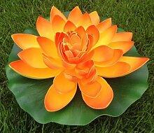 Wasserlilie Schwimmend Lotusblüte Lotusblume Seerose 22 cm groß künstliche Blumen sehr original wie echt Deko Teichrose (Orange)