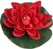 Wasserlilie Schwimmend Lotusblüte Lotusblume Seerose 22 cm groß künstliche Blumen sehr original wie echt Deko Teichrose (rot)