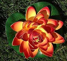 Wasserlilie Schwimmend Lotusblüte Lotusblume Seerose 22 cm groß künstliche Blumen sehr original wie echt Deko Teichrose (rot-orange)