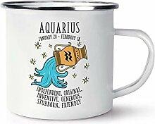 Wassermann Horoskop Retro Emaille Becher