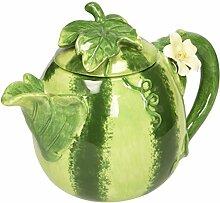 Wassermelonen-Teekanne, Keramik, handgefertigt,