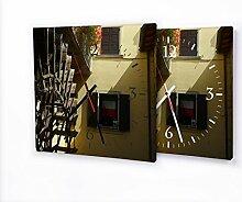 Wasserrad - Lautlose Wanduhr mit Fotodruck auf Leinwand Keilrahmen | geräuschlos kein Ticken Fotouhr Bilderuhr Motivuhr Küchenuhr modern hochwertig Quarz | Variante:30 cm x 30 cm mit schwarzen Zeigern - GERÄUSCHLOS