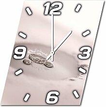 Wassertropfen, Design Wanduhr aus Alu Dibond zum Aufhängen, 48 cm Durchmesser, schmale Zeiger, schöne und moderne Wand Dekoration, mit qualitativem Quartz Uhrwerk