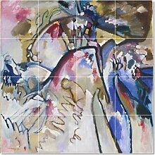 Wassily Kandinsky Abstrakt fliesenwandbild modernen umzugestalten. 121,9x 121,9cm, mit (16) 12x 12Keramik Fliesen.