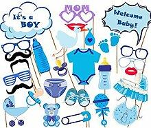 Watooma Babydusche Foto Props Baby Flasche Masken Fotorequisiten Neugeborene Junge Partydekoration, 27 Stück