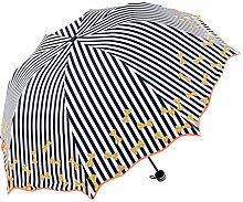 Wave Seitenstreifen Regenschirme Vinyl Sonnenschutz Anti-UV Falten Regenschirm Frau Drei Fold Sonnenschirm ( Farbe : #2 )