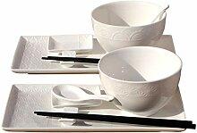 Wave & Star Bowls & White Sushi-Set für 2 Stück