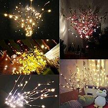 Wawer LED Weide Zweig Leuchte Floral Lights 20 Glühbirnen Home Party Gartendekor (Gelb)