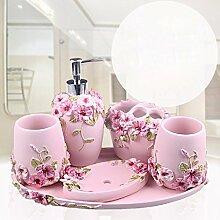WAWZJ Badezimmer Set Bathroom Toiletries, Mundwasser, Tassen, Fünf Sätze Bürsten Tassen,D