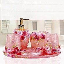 WAWZJ Badezimmer Set Bathroom Toiletries, Mundwasser, Tassen, Fünf Sätze Bürsten Tassen,C