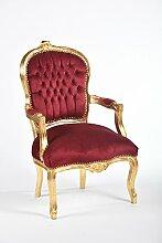 Way Home Store Barock-Stuhl Luis, Gold und roter