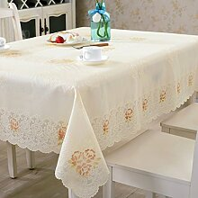 WAZY 100% PVC Vinyl Rechteckige Spitze Tischdecke fleckenabweisend Wischen Saubere Weiche Öldicht Tischschutz für Esstisch (Farbe : C)