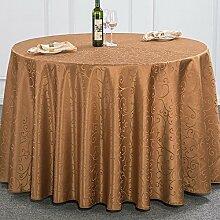 WAZY Hotel Hochzeit Party Tischdecke Restaurant Polyester Tischabdeckung Runde Abwischen Tischdecken (Farbe : Light coffee, größe : 280cm)