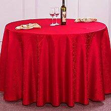 WAZY Hotel Hochzeit Party Tischdecke Restaurant Polyester Tischabdeckung Runde Abwischen Tischdecken (Farbe : Rot, größe : 220cm)