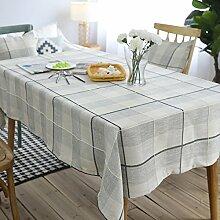 WAZY Moderne Baumwolle und Leinen Esstisch Tischdecke Einfache Plaid Couchtisch Abdeckung Home Platz Tisch Dekoration Stoff (Farbe : Dunkelblau, größe : 130*230cm)