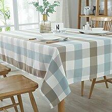 WAZY Polyester-Baumwolle Plaid Tischdecke Moderne einfache wasserdichte waschbar Fleck-resistente Tischabdeckung für Home Hotel (Farbe : C, größe : 140*220CM)