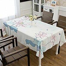 WAZY Polyester rechteckige Tischdecke, Tisch decken europäischen rustikalen Stil waschbar wasserdicht verschleißfest für Restaurant Esstische Hauptdekor 140x200cm (55,1 * 78,7 Zoll) (Farbe : A)