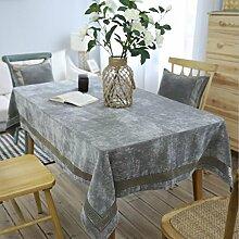 WAZY Tischdecke europäischen Stil klassischen Mehrzweck Tischdecke reine Farbe Polyester Tischdecke Familie Esstisch Küche (90 x 130 cm, grau) (Farbe : Grau, größe : 130*220cm)