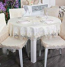 WAZY Tischdecke europäischen Stil Mehrzweck einfache Tischdecke Spitze Spitze Polyester Baumwolle Abdeckung Tuch Familie Esstisch (88 x 150 cm, weiß) (Farbe : D, größe : 59.1 inch round)
