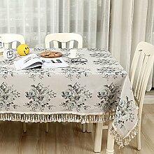 WAZY Tischdecke Europäischen Stil Mehrzweck Tischdecke Baumwolle Doppelschicht Stoff Druck Familie Esstisch TV Counter Tee Tischdecke Tuch (Farbe : A, größe : 140*200cm/55.1*78.7in)
