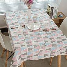 WAZY Tischdecke Mehrzweck Tischdecke Farbige Dreieck Geometrie Baumwolle und Leinen Spitze Abdeckung Tuch Familie Esstisch Dekorative Tuch, Rosa (Farbe : Pink, größe : 140*200cm)