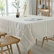 WAZY Tischdecke Nordic Rechteck Mehrzweck Einfache Tischdecke Anti-Rutsch-Einfarbig Polyester Baumwolle Familie Esstisch Küche (100 X 140 cm, Grau) (Farbe : Beige, größe : 130*180cm)
