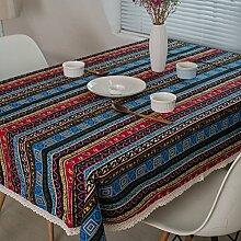 WAZY Tischdecke Retro ethnischen Stil staubdicht Mehrzweck Tischdecke Striped Lace Printing Baumwolle und Leinen Cover Tuch Familie Esstisch Dekorative Tuch (Farbe : Bunte, größe : 120*120cm)